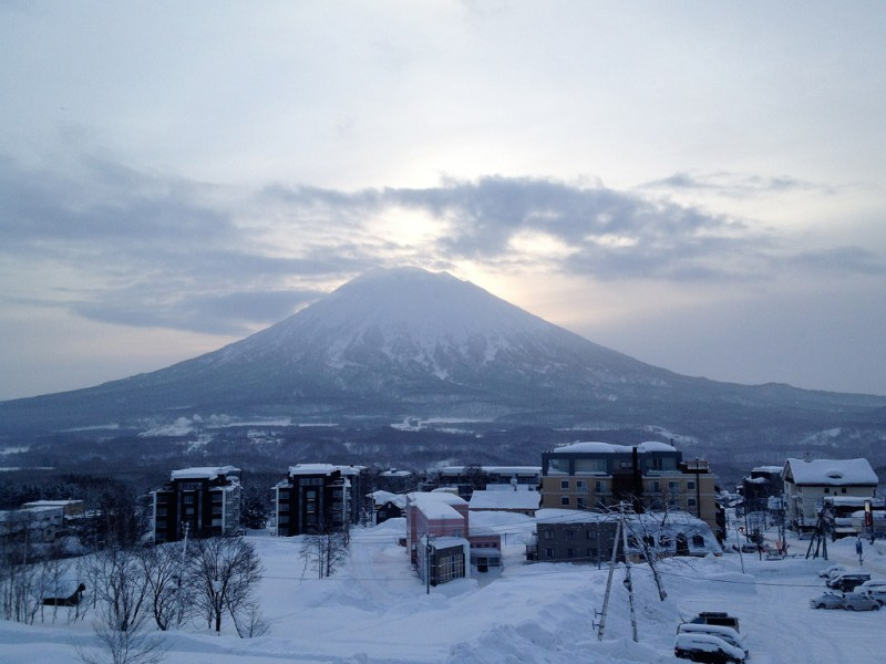 Mt.Yotei from the Welcome Center car park - 7:30, 6 February 2013