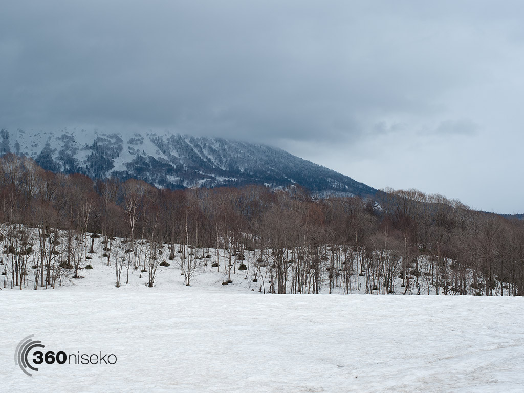 Mt.Yotei surrounded by clouds and covered in a fresh dusting of snow, 28 April 2013