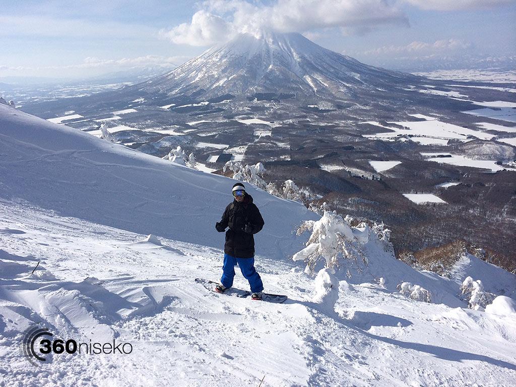 Ashley at the top of Shiribetsu-dake ready to drop, 17 March 2014