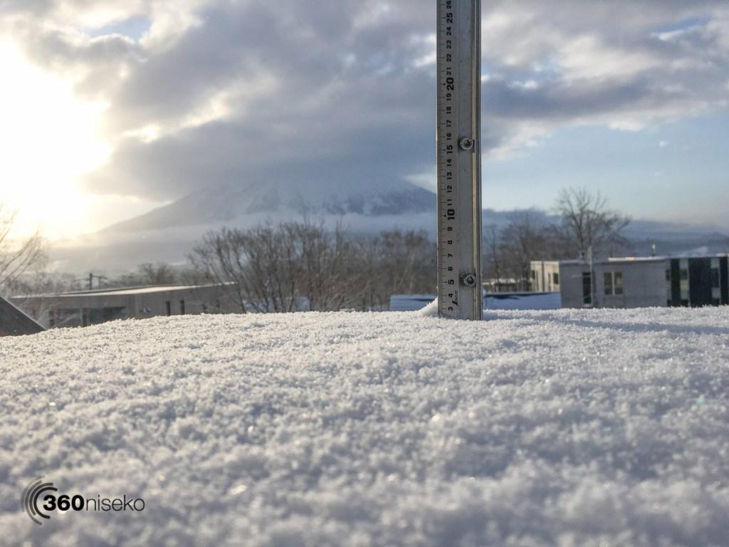 Snowfall in Hirafu Village, 11 April 2016