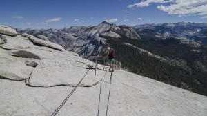 Heading back down the cables.