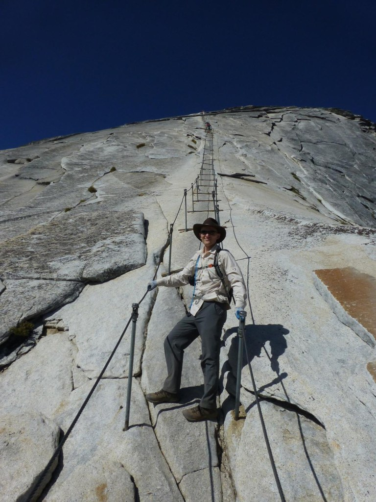 Getting ready to climb up the cables. (John Muir Trail: Day 2 — Half Dome)