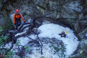 Francisco finds a dirty pool of foam. (A Storm, 4 Days — 4 Canyons Part 1 of 2)