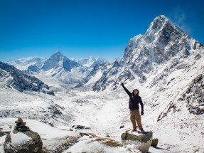 Cho La Pass 17,782 ' (5,420 meters) Himalayas . In the BG are Cholatse and Ama Dablam