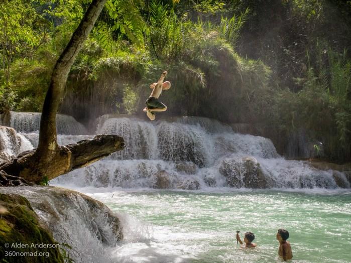 Matrix leap into Kung Si Falls, Luang Prabang, Laos - Aug, 2017