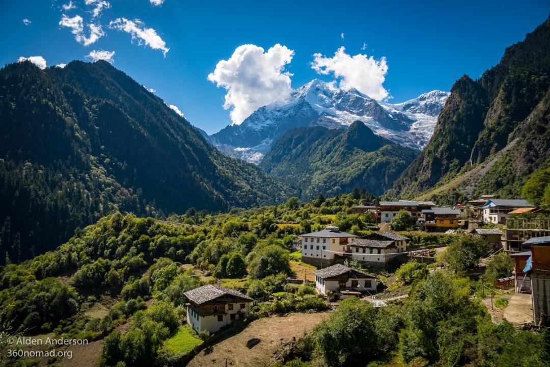 Upper Yubeng Village beneath Bawu Bameng Peak 5,000 m (16,404')