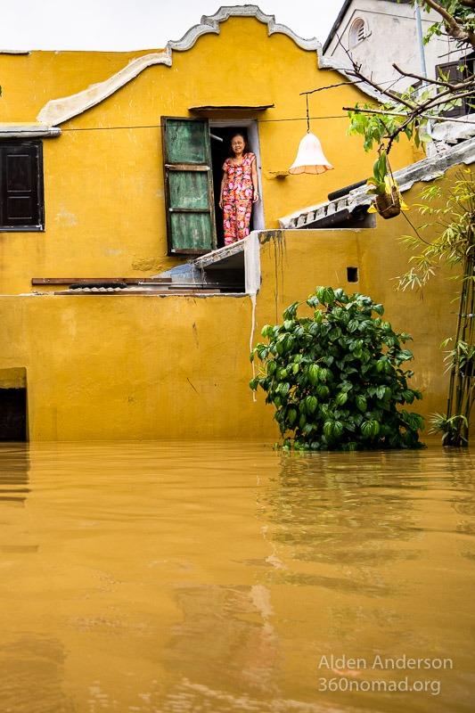 Sa in her home during Flood Hoi An Vietnam (Sa, Hoi An during the Flood)