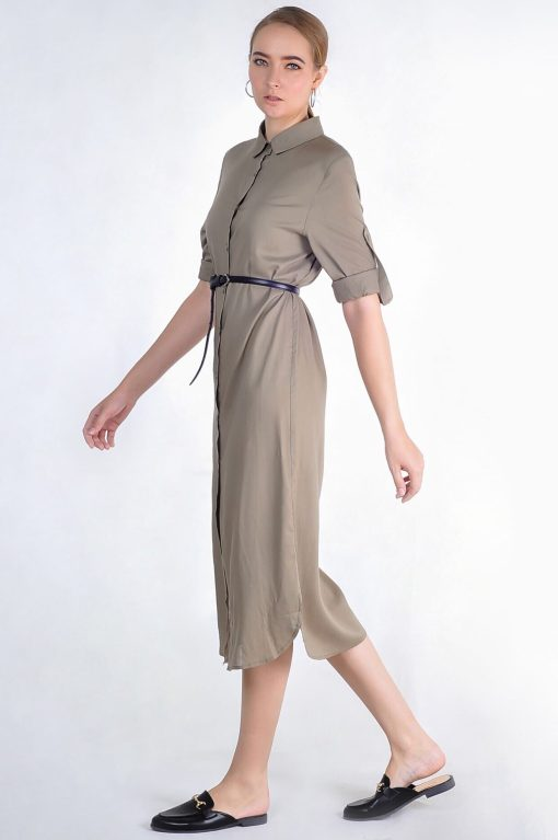 Oversized Shirt Dress-Army