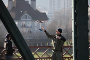 360 Heros prepares for launch to film the Hawthorne Bridge via a hexacopter from ATI.