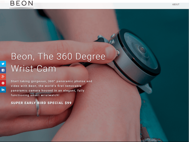 Beon: a waterproof wristwatch with a 360 camera