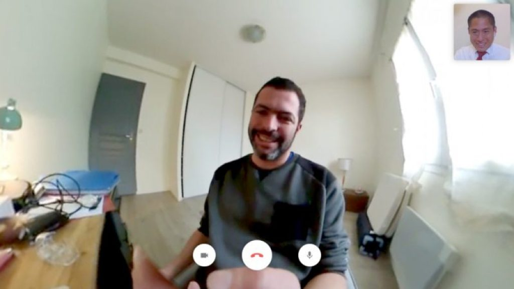 Screenshot of 360 video call screen