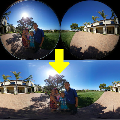360 video stitching from double fisheye to standard equirectangular
