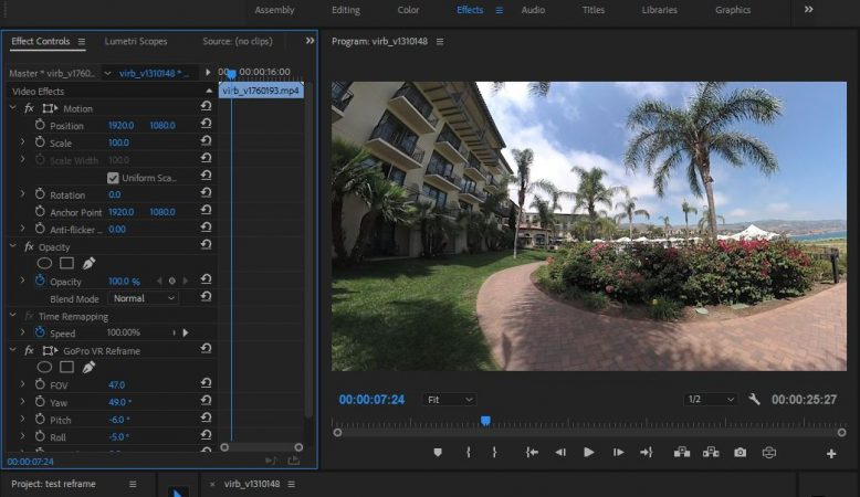 Gopro VR Reframe enables Overcapture style videos