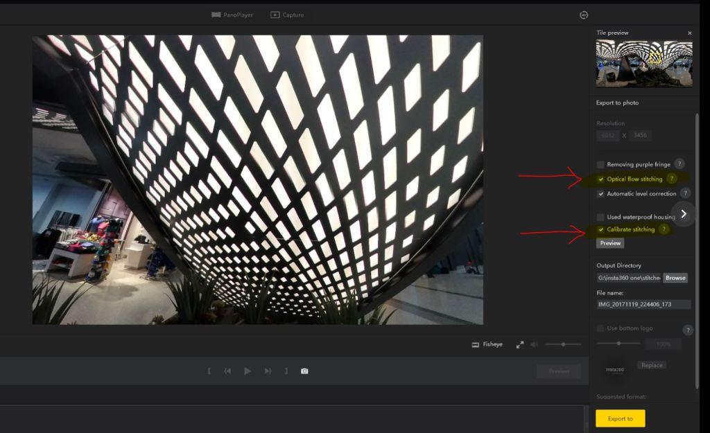 Insta360 Studio optical flow stitching