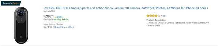 Insta360 One sale on Amazon