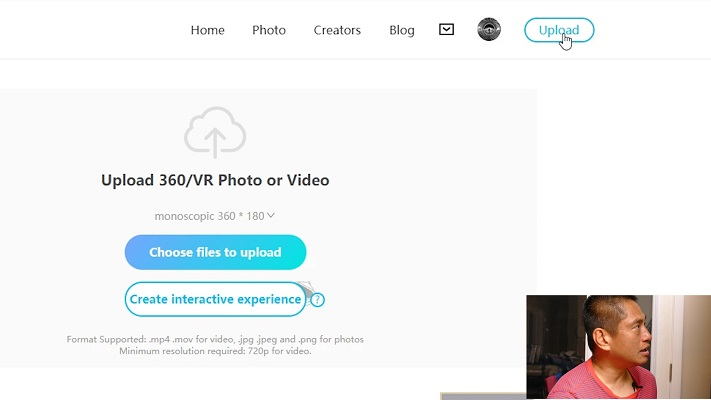 Step 1: click on Upload and then Create Interactive Experience