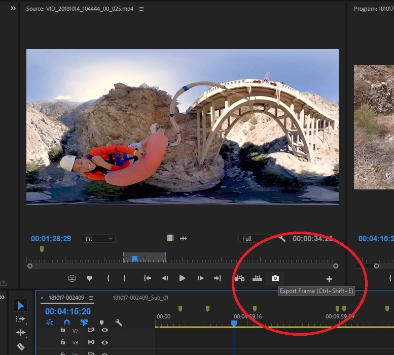Getting a 360 video screenshot in Adobe Premiere