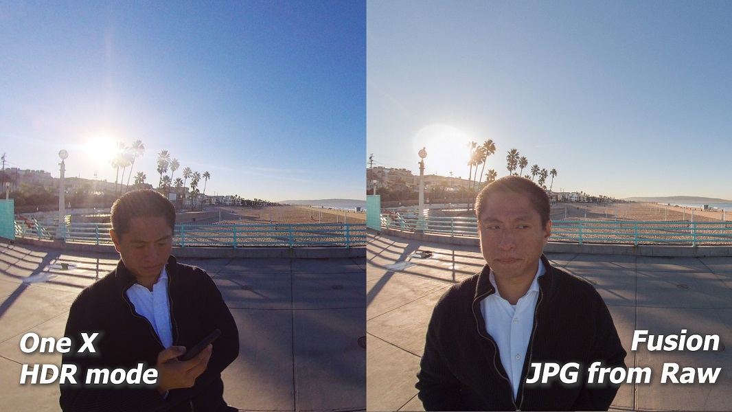 dynamic range comparison: Insta360 One X HDR vs. GoPro Fusion raw