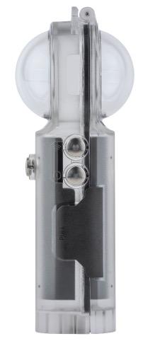 The Vuze XR's spherical lenses minimize refraction underwater