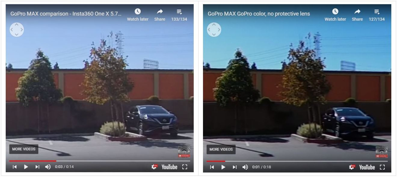 Side of the lens (from video frame grabs): Insta360 One X (left) vs GoPro MAX (right)