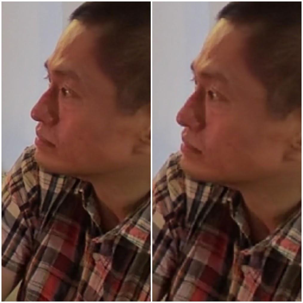 Natively reframed photo (left) vs screenshot method (right)