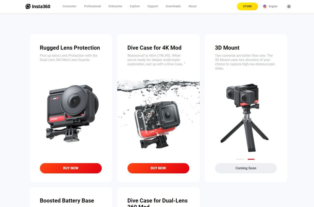 """Insta360's website still shows the 3D Mount """"coming soon"""""""