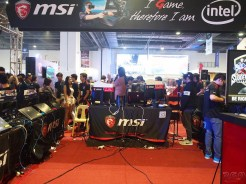 The MSI booth/competition/gaming/rig display area.