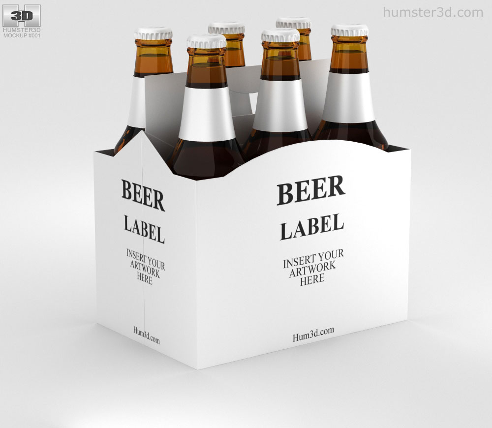Download Paper Pack Beer Carrier Mockup 3D model - Food on Hum3D