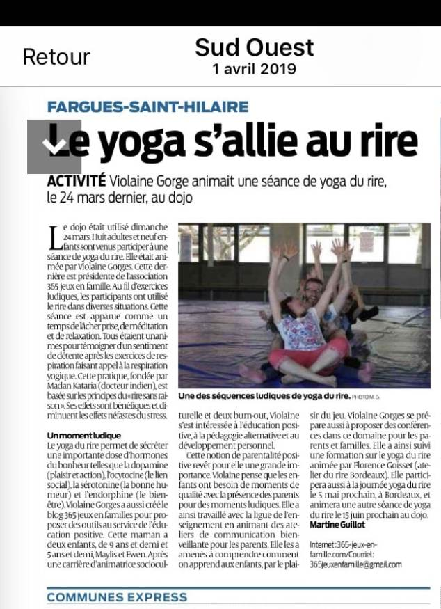 YOGA DU RIRE article Sud-Ouest