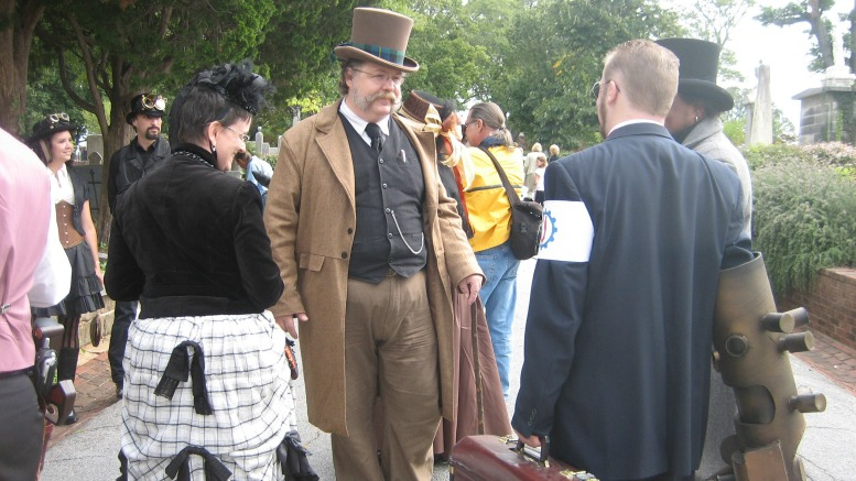 Costumed attendees at Oakland Cemetery's Sunday in the Park. This is a great place to see Victorian dress, as well as a few SteamPunks.