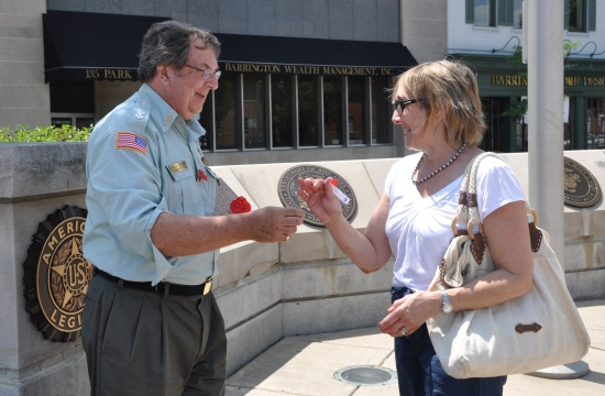 Passing out Poppies on Memorial Day
