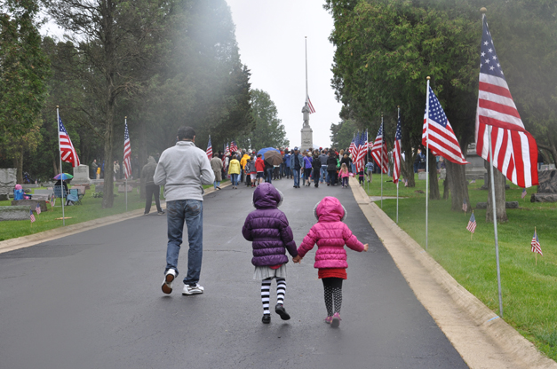 Ceremony with Veterans at Evergreen Cemetery in Barrington