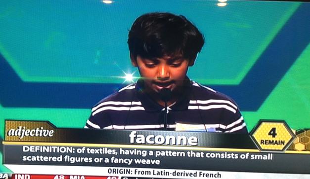"Pranav Sivakumar Correctly Spells the Word ""Faconne"" in the Scripps National Spelling Bee"
