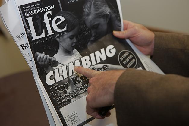 Group Editor, Dan McCaleb, Proofing Barrington Life - Photographed by Julie Linnekin
