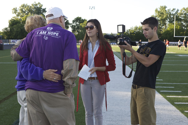365Barrington TV Reporter, Catherine Goetze, Covers the Relay for Life of Barrington - Photographed by Julie Linnekin