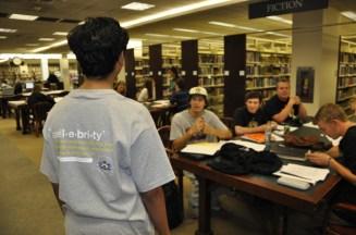 Pranav wtih Fans at the Barrington Area Library