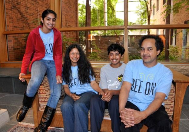 Pranav Sivakumar with his Family at the Barrington Area Library