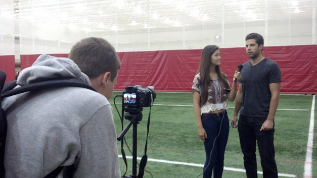 BHS-TV Interview with Chicago Blackhawk Corey Crawford at the Lake Barrington Field House - Photographed by BHS-TV Teacher, Jeff Doles