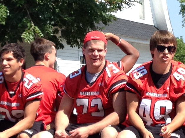 Jack Bornhofen and Nick Stackhouse on the Barrington High School Football Float. Only Seniors ride on the float. Here's to a great season! - Louise Bornhofen