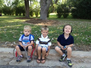 """The """"little brothers"""" sitting outside Lines while the moms all watch their first graders line up and go inside - Submitted by mom, Stephanie"""