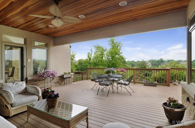 Covered Deck off Master Sitting Room at 205 Honey Lake Court in North Barrington, IL - Listed for Sale by Suzanne & Liz Luby