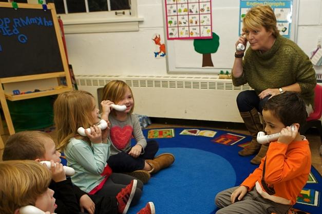 Phonics phones help children hear distinct sounds - Photographed by Julie Linnekin