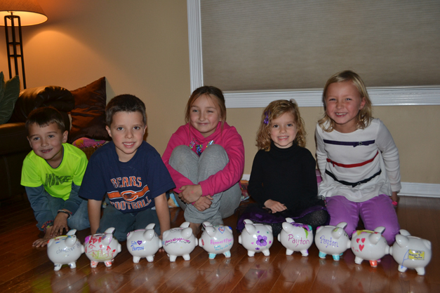Children Fill their Piggy Banks with Pennies for Payton - Photo Submitted by Rachel Harley