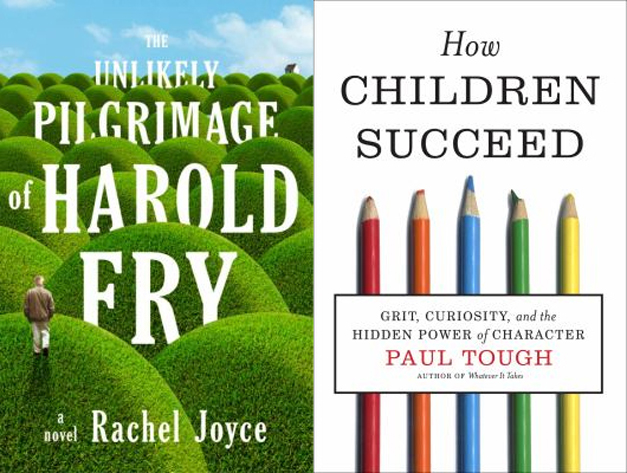 Book jackets for The Unlikely Pilgrimage of Harold Fry and How Children Succeed