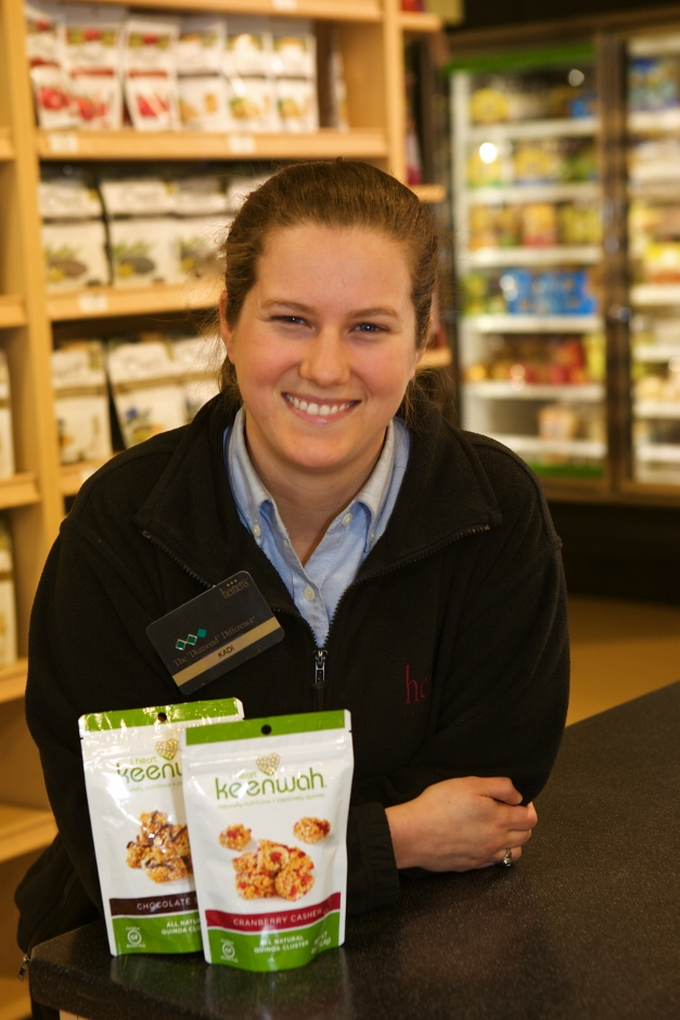 Heinen's Wellness department manager, Kadi Shipley, with some of her favorite new snacks - Photographed by Julie Linnekin
