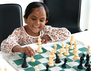 Meher, post surgery, playing chess - Photograph courtesy of Chess Without Borders