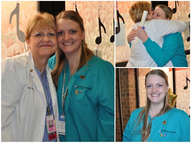 Amy Olsen Receives her Magnet Recognition Pin from her mom, OB Nurse Assistant Manager, Leslie Olsen