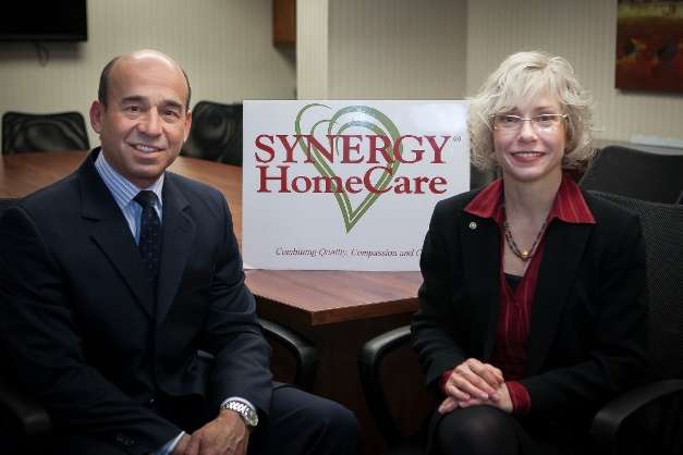 Diego Uribe and Anne Adams of Synergy HomeCare of Barrington - Photographed by Liz Benedetto