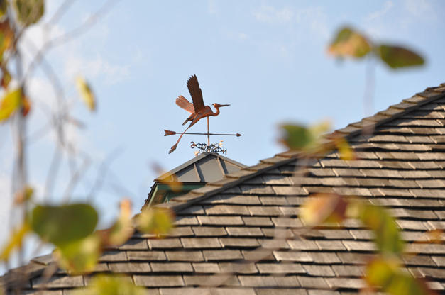 Artist Don Murphy's Great Blue Heron Weather Vane Atop Barrington's Metra Station Clocktower