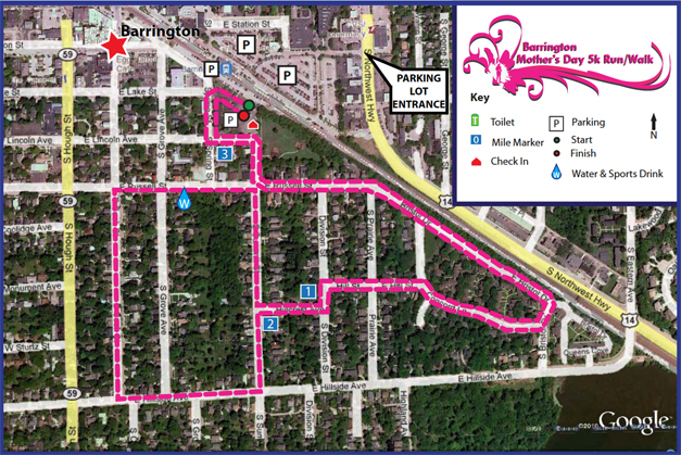 Barrington Mother's Day 5k Run/Walk Course Map